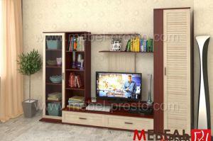 Стенка - Азалия 2 с реечной вставкой - Мебельная фабрика «МЕБЕЛЬ ПРОСТО»