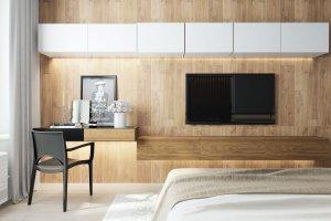 Стенка под ТВ  в спальню - Мебельная фабрика «Алгаир»