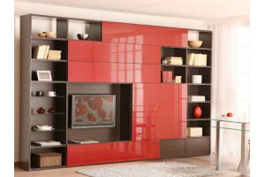 Стенка в гостиную красный/коричневый - Мебельная фабрика «Мебельная мастерская»
