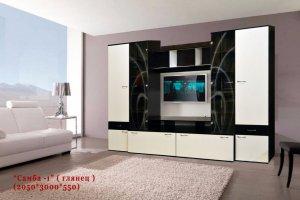 Стенка в гостиную Самба 1 глянец - Мебельная фабрика «С-Корпус»