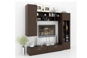 Стенка в гостиную темного цвета Арто-900 - Мебельная фабрика «Мастер»