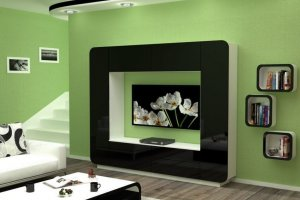 Черная глянцевая стенка Верона - Мебельная фабрика «Д.А.Р. Мебель»