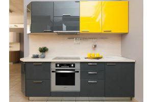 Стильная кухня с крашеными фасадами Брайт антрацит - Мебельная фабрика «Хомма»