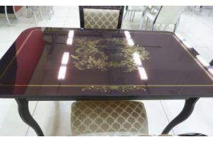 Стол фото-металл в золоте на основе каленого стекла  - Мебельная фабрика «Мебель России»
