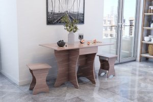 Стол кухонный №2 с ящиком ЛДСП с табуретами ЛДСП - Мебельная фабрика «Террикон»