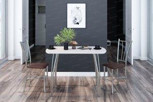Стол обеденный №3 с мягкими стульями