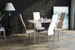 Стол обеденный №4 (фотопечать стекло) с мягкими стульями