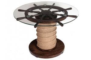 Стол обеденный Штурвал темно-коричневый/прозрачное - Мебельная фабрика «Мебелик»