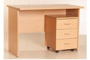 Стол письменный 038 с выкатной тумбой - Мебельная фабрика «МЕБЕЛов»