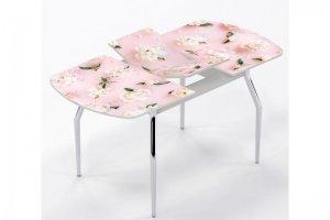 Стол раздвижной Белые пионы на розовом - Мебельная фабрика «Рим»