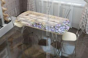 Стол раздвижной со стеклом Колокольчики - Мебельная фабрика «Вавилон58»