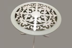 Стол стеклянный ажурный D=900, нога массив - Мебельная фабрика «Астера (ТМФ)»