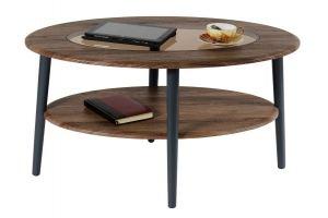 Стол журнальный Эль со стеклом СЖС-01 грецкий орех - Мебельная фабрика «Мебелик»