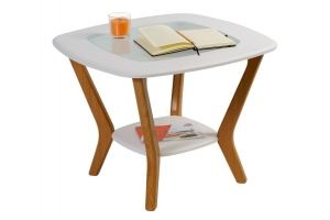 Стол журнальный Мельбурн со стеклом белый - Мебельная фабрика «Мебелик»