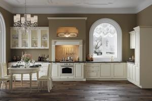 Светлая угловая кухня Николь Шампань - Мебельная фабрика «Энли»