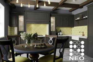 Темная угловая кухня Гальяно - Мебельная фабрика «Нео Кухни»