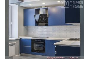 Тёмно-синяя кухня МДФ эмаль под матовым лаком - Мебельная фабрика «Маруся мебель»