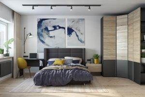 Темный спальный гарнитур Лозанна 2 - Мебельная фабрика «Артис»