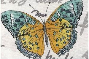 Ткань жаккард печатный  Бабочки цвет 1 - Оптовый поставщик комплектующих «Декостеп»