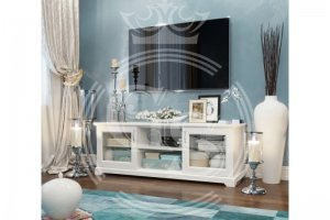 Тумба низкая под ТВ со стеклянными фасадами - Мебельная фабрика «Фабрика авторской мебели GS»