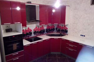 Угловая бардовая кухня - Мебельная фабрика «ДОН-Мебель», г. Волгодонск