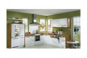 Угловая белая с деревом кухня Латифа - Изготовление мебели на заказ «КухниДар»