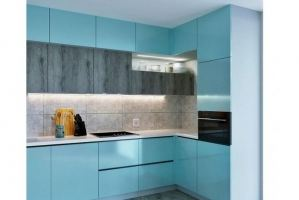 Угловая бирюзовая кухня - Мебельная фабрика «VELDE»