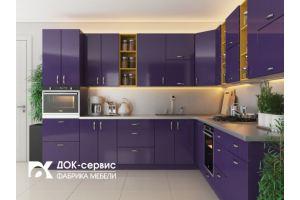 Угловая фиолетовая кухня - Мебельная фабрика «ДОК-Сервис»