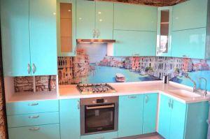 Угловая голубая кухня - Мебельная фабрика «Мебельный Стиль»