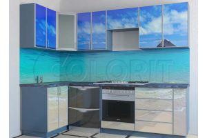 Угловая голубая кухня - Мебельная фабрика «Колорит»