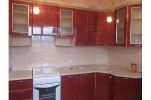 Угловая красная кухня - Мебельная фабрика «ДОН-Мебель», г. Волгодонск