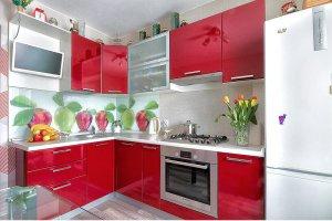 Угловая красная кухня - Мебельная фабрика «Ленинградская мебельная фабрика»