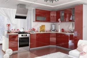Угловая красная кухня - Мебельная фабрика «КРОФУС»