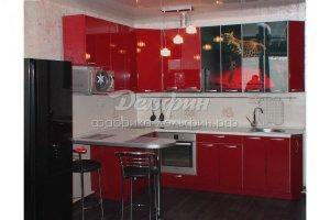 Угловая красная кухня глянец - Мебельная фабрика «Дельфин»
