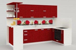 Угловая красно-белая кухня МДФ - Мебельная фабрика «Идея комфорта»