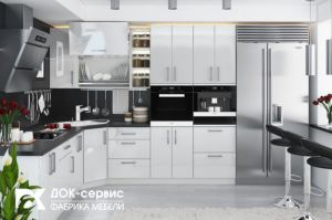 Угловая кухня белый глянец - Мебельная фабрика «ДОК-Сервис»