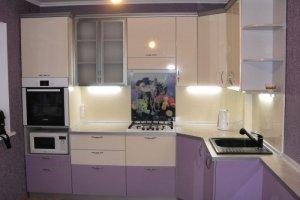 Угловая кухня бежево-сиреневая - Мебельная фабрика «ДОН-Мебель», г. Волгодонск