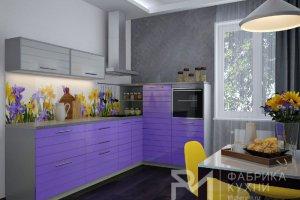 Угловая кухня Фиолетовый глянец- Техно - Мебельная фабрика «Ревдамебель»