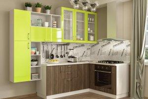 Кухонный гарнитур с пластиковыми фасадами Лайм - Мебельная фабрика «Эстель»