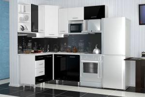 Угловая кухня Надежда МДФ черный/белый - Мебельная фабрика «Премиум»