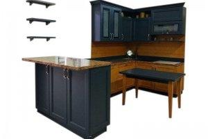 Угловая кухня с полуостровом и полками - Мебельная фабрика «Массив»