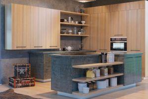 Угловая кухня со шкафами Вудстоун - Мебельная фабрика «Энли»