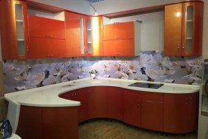 Угловая кухня Золотой апельсин волна - Мебельная фабрика «Кухни-АСТ»
