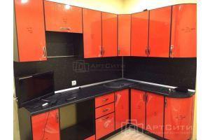 Угловая оранжевая кухня - Мебельная фабрика «МК АртСити»