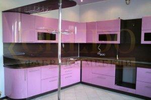 Угловая розовая кухня - Мебельная фабрика «Кредо»