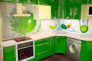 Угловая зеленая кухня - Мебельная фабрика «FORSETI»
