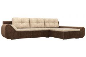 Угловой диван Анталина велюр бежевый коричневый - Мебельная фабрика «Лига Диванов»