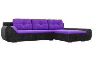 Угловой диван Анталина велюр фиолетовый черный - Мебельная фабрика «Лига Диванов»