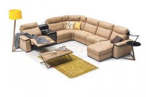 Угловой диван Магнат с выдвижным столиком и реклайнером - Мебельная фабрика «Рапсодия»