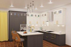 Угловой кухонный гарнитур Кантри с островом - Мебельная фабрика «Акварель»